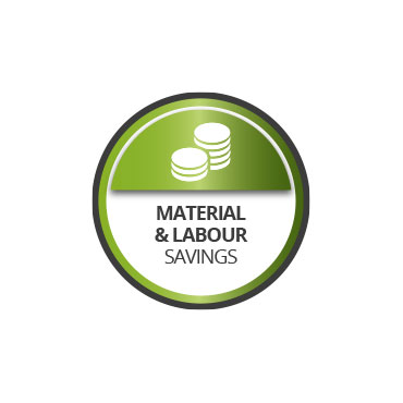Material and labour savings